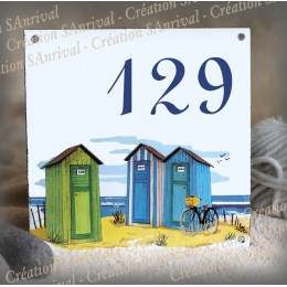 Street Number enamelled Cabanas decoration 6x6in