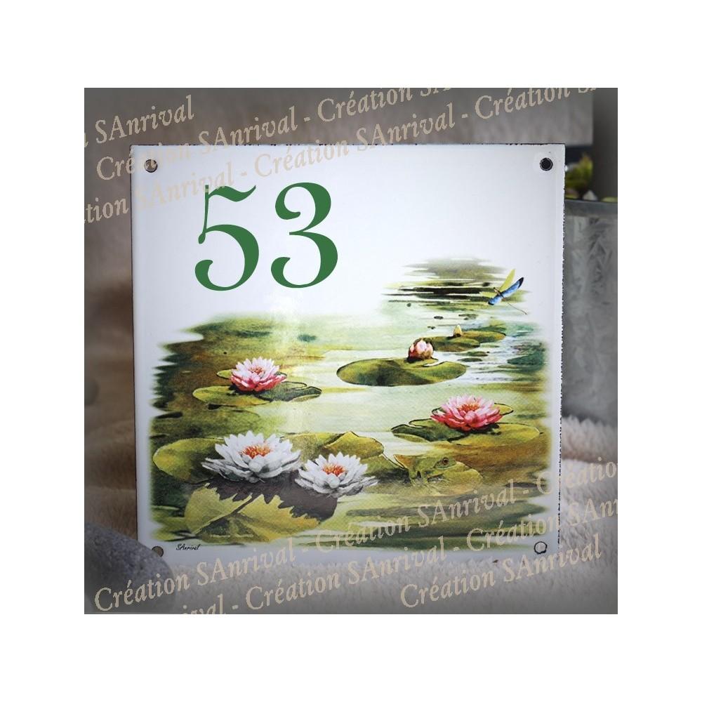 Numéro de rue émaillé décor Nénuphar 15x15cm