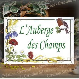 Plaque de Maison émail blanc décor Le printemps avec votre texte 30x20cm