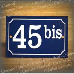 Plaque émail bleu numéro blanc 15x10cm