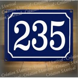 Numéro blanc émail bleu 20x15cm