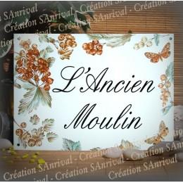 Plaque de Maison émail blanc décor Groseilles avec votre texte 32x23,5cm