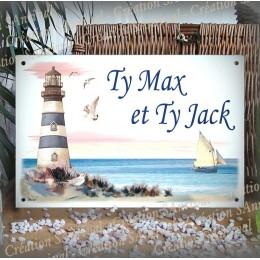 Plaque de Maison décor Phare en émail avec votre texte personnalisé