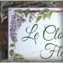 Plaque de Maison décor Glycine en émail avec votre texte personnalisé
