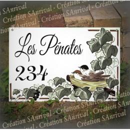 Plaque de Maison décor Nid de mésanges en émail avec votre texte personnalisé