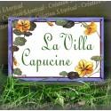 Plaque de Maison décor Capucines en émail avec votre texte personnalisé