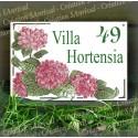 Plaque de Maison décor Hortensias Roses en émail avec votre texte personnalisé
