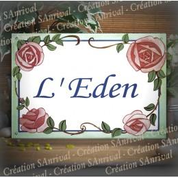 Enamel house plate Roses décor Corsiva font