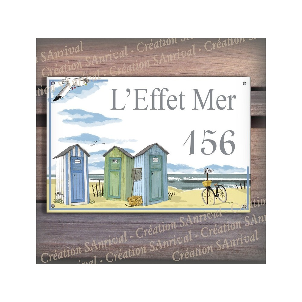 Plaque de Maison décor Cabines de plage en émail avec votre texte personnalisé
