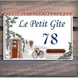Plaque de Maison décor Bienvenue en émail avec votre texte personnalisé