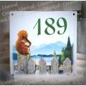 Numéro de rue émaillé décor Ecureuil 15x15cm