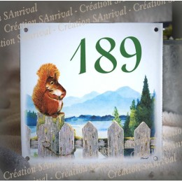 Street Number enamelled Squirrel decoration 6x6in