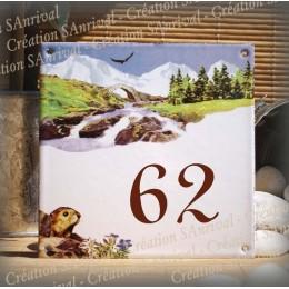 Numéro de rue émaillé décor Montagne marmotte