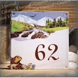 Street Number enamelled Mountain marmot decoration