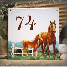 Street Number enamelled Horses decoration