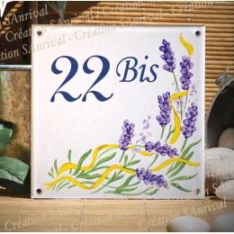 Numéro de rue émaillé décor Lavande 15x15cm