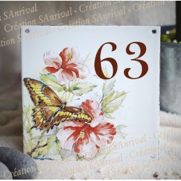 Numéro de rue émaillé décor Papillon 15x15cm