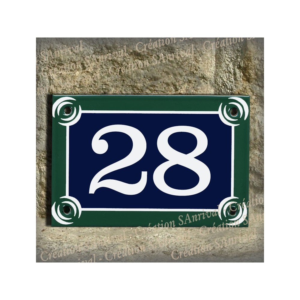 Paris enamel plate white number 6x4 inches