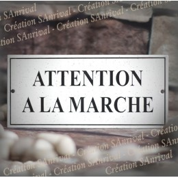 """Gres enamel plate """"Attention à la marche"""" 8.8x4 inches"""