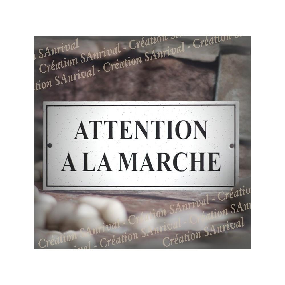 """Plaque émail gres """"Attention à la marche"""" 22x10cm"""