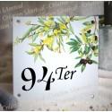 Numéro de rue émaillé décor Mimosas et olives