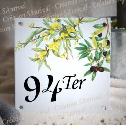 Numéro de rue émaillé décor Mimosas et olives 15x15cm