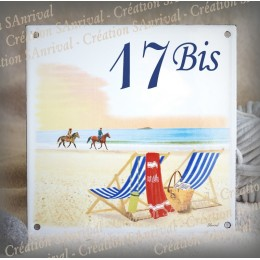 Street Number enamelled deckchair decoration 6x6in