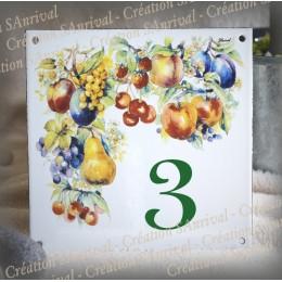 Street Number enamelled Fruit decoration 6x6in