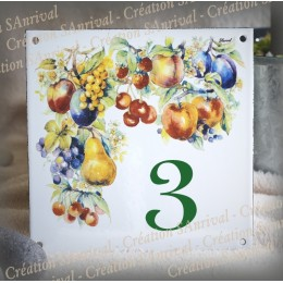 Numéro de rue émaillé décor Fruits 15x15cm