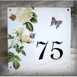 Numéro de rue émaillé décor Roses blanches 15x15cm