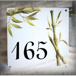 Numéro de rue émaillé décor Bambou 15x15cm