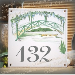 Street Number enamelled small bridge decoration 6x6in