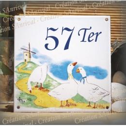 Numéro de rue émaillé décor Les Oies 15x15cm