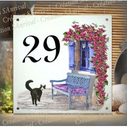 Numéro de rue émaillé décor Le Chat 15x15cm