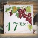 Numéro de rue émaillé décor vignes 15x15cm