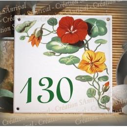 Street Number enamelled nasturtiums decoration 6x6in