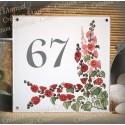 Numéro de rue émaillé décor Roses trémières 15x15cm
