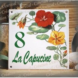 Plaque maison émaillée décor Capucine 15x15cm