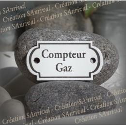 """Petite plaque émaillée forme rétro """"Compteur Gaz"""""""