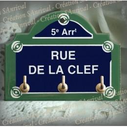 """Plaque émaillée """"Paris"""" - Rue de la Clef + 3 crochets"""