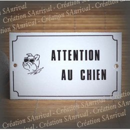 "Enamel plate ""Attention Chien"" dog with glasses"