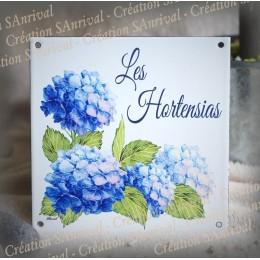 Home plate enamelled Hydrangeas decoration 6x6in