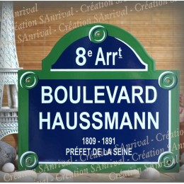 """Your Enamel Plate of Paris with """"arrondissement"""" personalized in your name"""