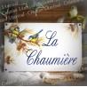 Plaque de Maison 23x14cm décor mésanges + texte personnalisé