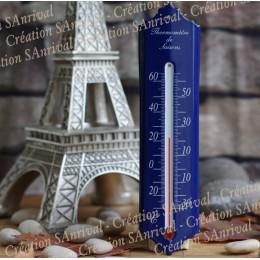 Thermomètre émail bleu 24cm