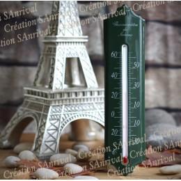 Thermomètre émaillé vert 24cm