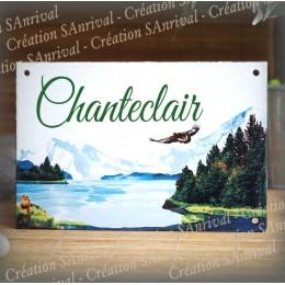 House name plate enamelled mountain decoration