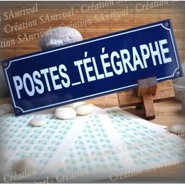 Blue Enamel plate POSTE ET TELEGRAPHE