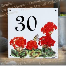 Street Number enamelled geranium decoration 6x6in