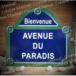 Réplique de la plaque de Paris AVENUE DU PARADIS